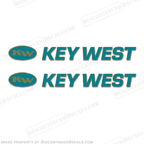 Key West Boat Decals (Set of 2) - Teal/Gold