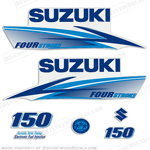 Suzuki 150hp 4-Stroke Decals (Light/Dark Blue) 2010+