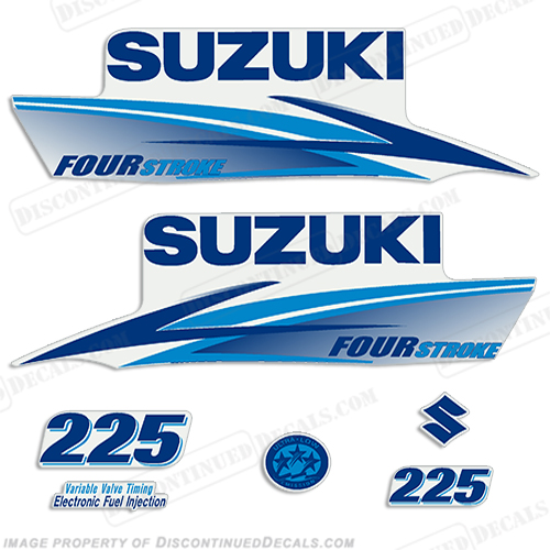 Suzuki 225hp 4-Stroke Decals (Light/Dark Blue) 2010+