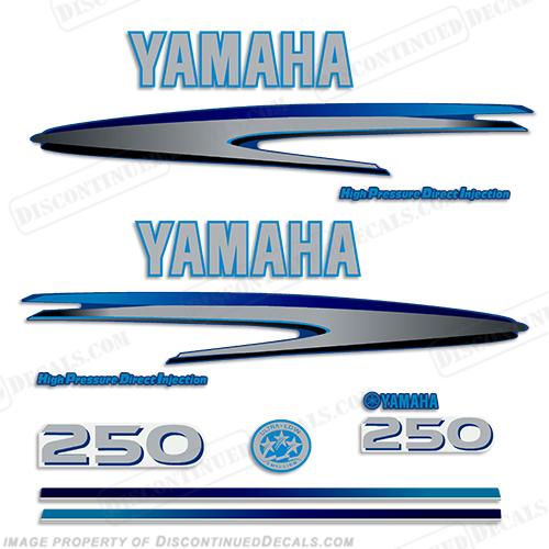 Yamaha 250hp hpdi decals custom dark light blue for Custom outboard motor decals