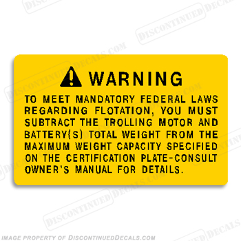 Boat Warning Label Decal