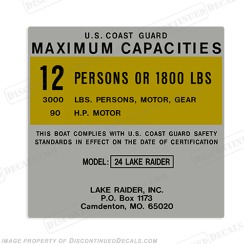 Lake Raider 24 12 Person Boat Capacity Plate Decal