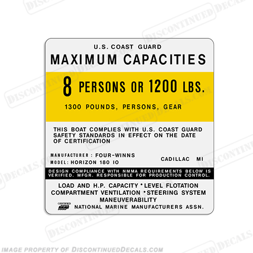 Four Winns Horizon 180 IO 8 Person Boat Capacity Plate Decal fourwinns, 4winns, 4-winns, four-winns