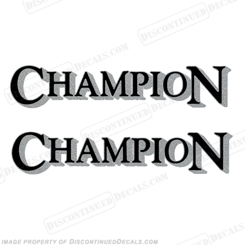 Champion Boat Logo Decals (Set of 2) - Black