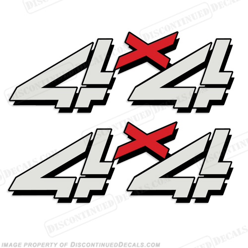 Chevy 4X4 Truck Decals (Set of 2) - Silver/Red