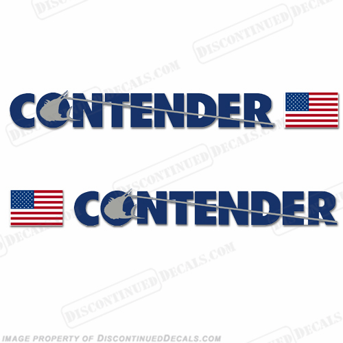 Contender Boat Logo Decal w/Flag - Set of 2 (Metallic Blue)