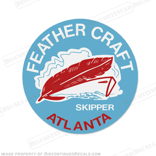 "Feather Craft Boat Decal Skipper - 3.5"" Round"