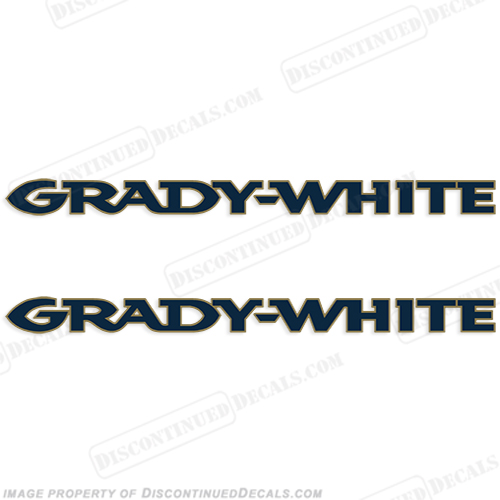 Grady White Boat Logo Decals (Set of 2) - Navy w/Gold Outline