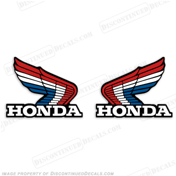 honda vintage wing decals red white blue rh discontinueddecals com honda wing logo meaning honda wing logo decals