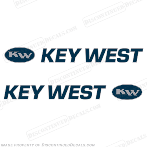 Key West Boat Decals 2-Color! (Set of 2) - Blue/Silver