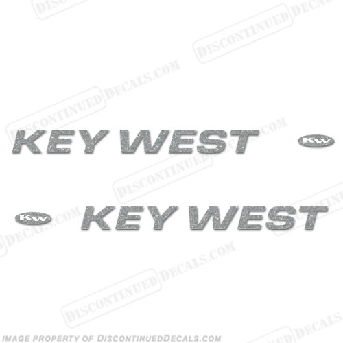 Key West Boat Decals (Set of 2) - Metallic Silver