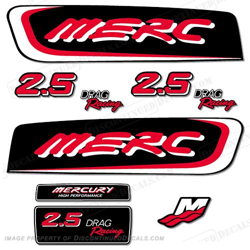 Mercury 2 5 liter efi racing decal kit custom red for Custom outboard motor decals