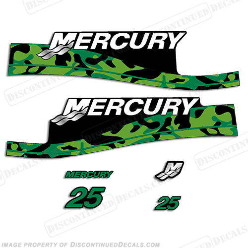 mercury 25hp decal kit custom color green camo