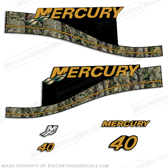 Mercury custom 40 elpto decal kit real camo style for Custom outboard motor decals