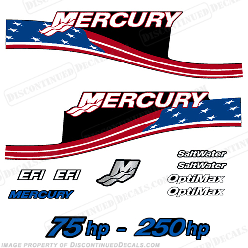 mercury 75hp 250hp decals custom flag
