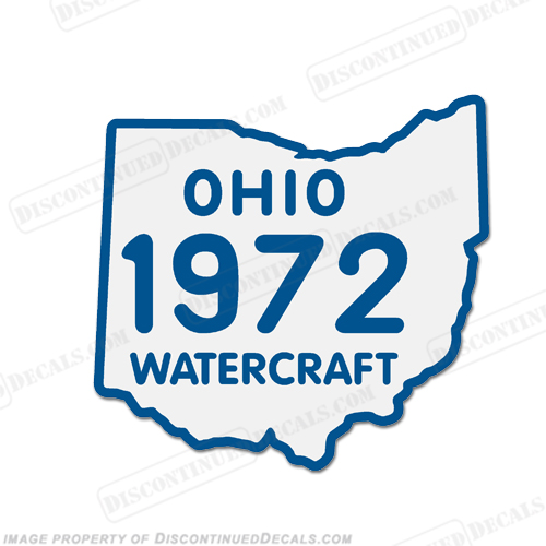 Vintage Ohio 1972 Watercraft Registration Decal