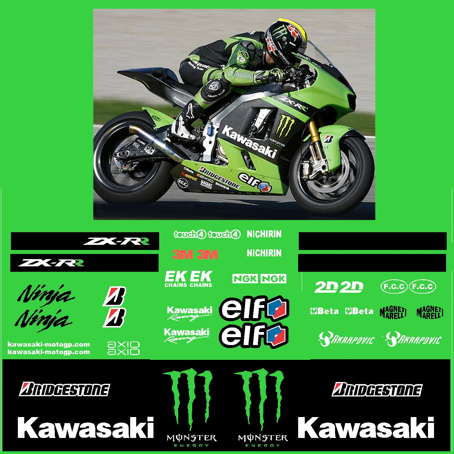 Kawasaki Kawasaki Zx Rr Monster Energy Race Decal Kit R K Zx Rr M
