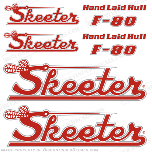 Skeeter F-80  Decal Package - Red/White/Silver