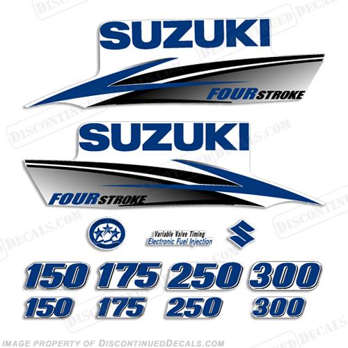 Suzuki df fourstroke decals custom dark blue 2010 2013 for Custom outboard motor decals