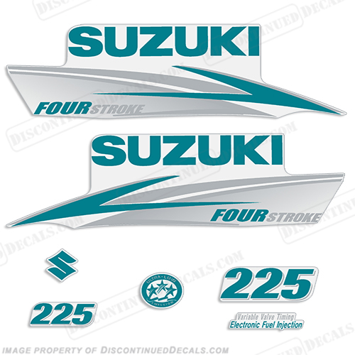 Suzuki 225hp FourStroke Decals (Teal/Silver) 2013+