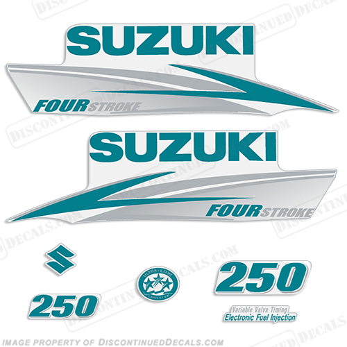 Suzuki 250hp FourStroke Decals (Teal/Silver) 2013+