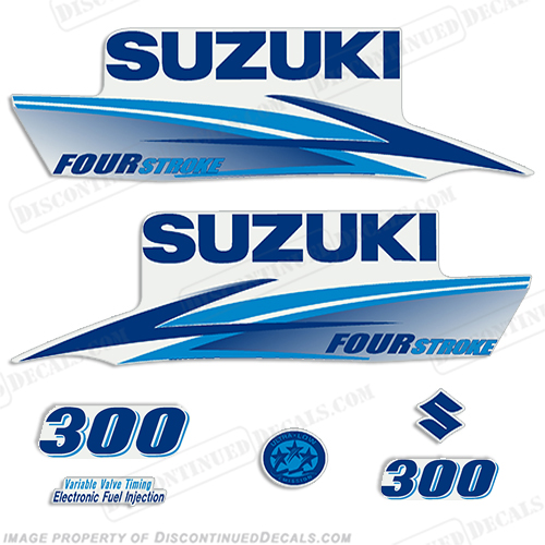 Suzuki 300hp 4-Stroke Decals (Light/Dark Blue) 2010+