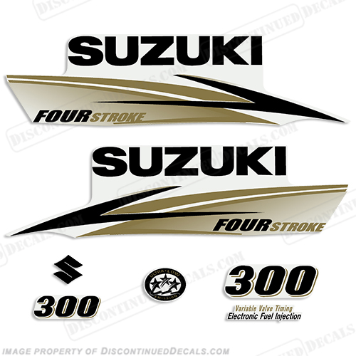 Suzuki 300hp 4-Stroke Decals (Black/Gold) - 2010+