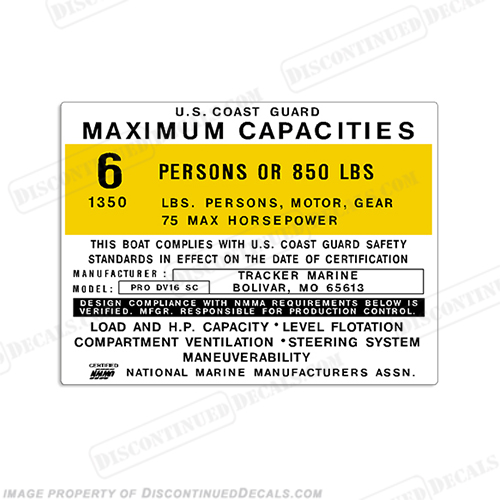 Tracker Marine Pro DV16 SC Capacity Decal - 6 Person capacity, plate, sticker, decal, dv 16