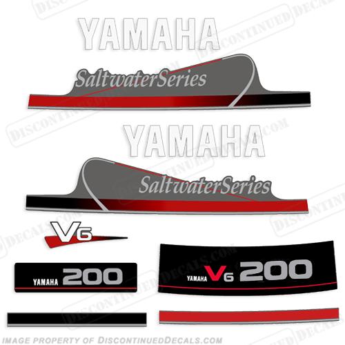 Yamaha outboard motor decal kit 150hp 200hp v6 mid 90s for Yamaha saltwater series ii