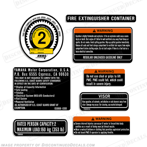 PWC Warning Label Decal Kit