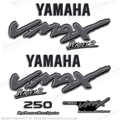 Yamaha 250hp vmax series ii decals silver for Custom outboard motor decals