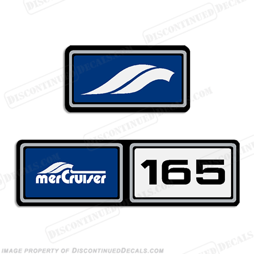 Mercruiser 1982-1989 165hp Valve Cover Decals  - Blue