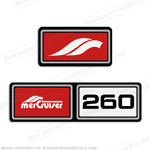 Mercruiser 1982-1989 260hp Valve Cover Decals  - Red