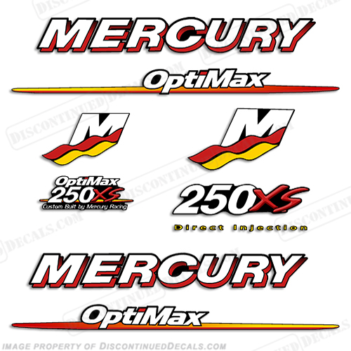 Mercury 200hp Optimax ProXs Outboard Engine Decals Pro XS Reproductions in Stock