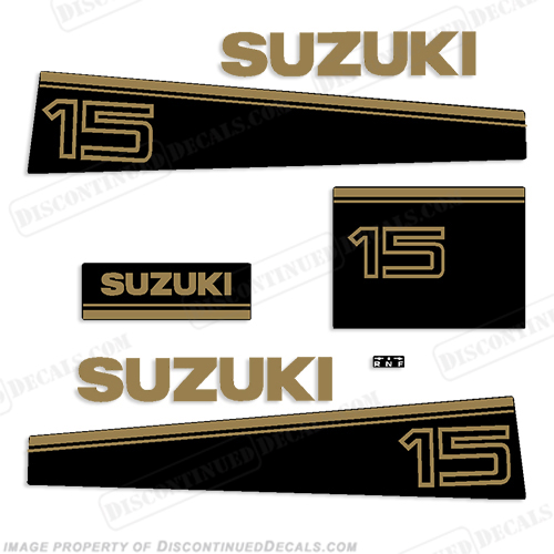 Suzuki 15hp Decal Kit - Late 80s to Early 90s