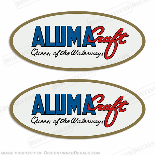 "Alumacraft ""Queen of the Waterways"" Oval Boat Decals  (Set of 2)  aluma craft"