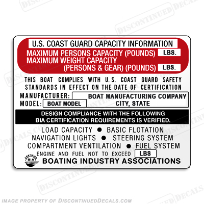 Boat Capacity Plate Decal - Generic Type A