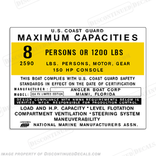 Angler 204 FX Capacity Decal - 8 Person capacity, plate, sticker, decal, 204fx, 204-fx