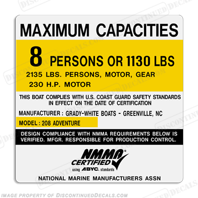 Grady White 208 Adventure Capacity Decal - 8 Person