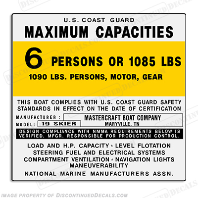Mastercraft 19 Skier Capacity Decal - 6 Person