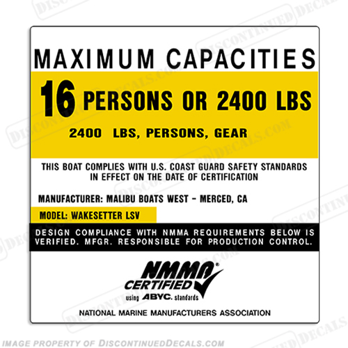 Malibu Boats Wakesetter LSV 16 Person Boat Capacity Plate Decal