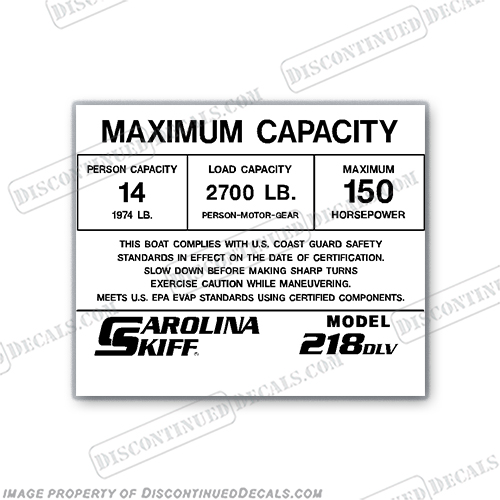Carolina Skiff 218 DLV Decal - 14 Person Capacity Decal