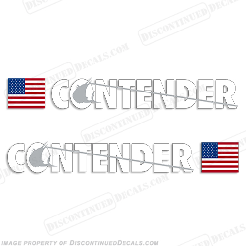Contender Boat Logo Decal w/Flag - Set of 2 (White/Silver)