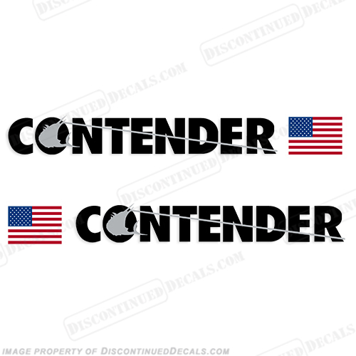 Contender Boat Logo Decal w/Flag - Set of 2 (Black)