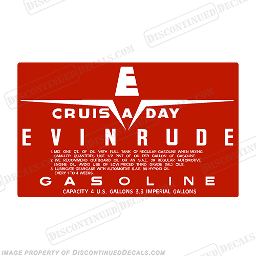 Evinrude 1958 4 Gallon Fuel Tank Decal