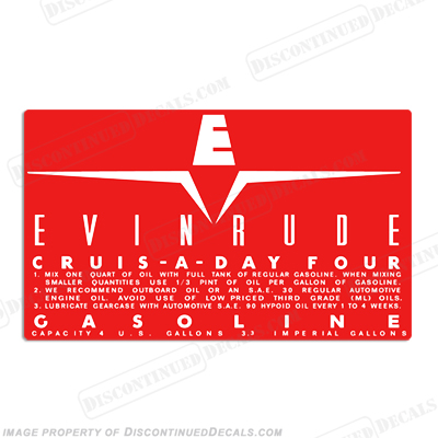 Evinrude 1959 4 Gallon Fuel Tank Decal