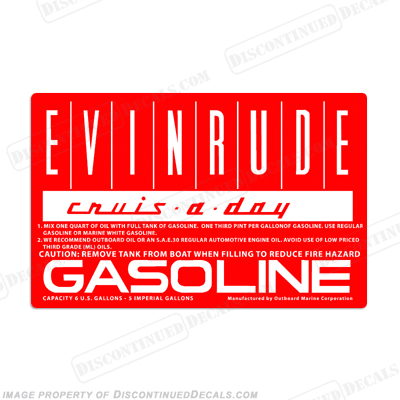 Evinrude 1960 6 Gallon Fuel Tank Decal