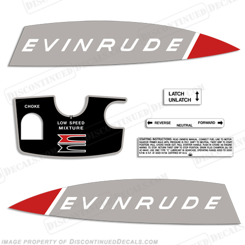 Evinrude 1965 6hp Decal Kit