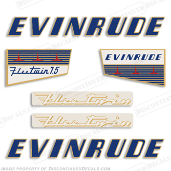 Evinrude 1956 7.5hp Decal Kit