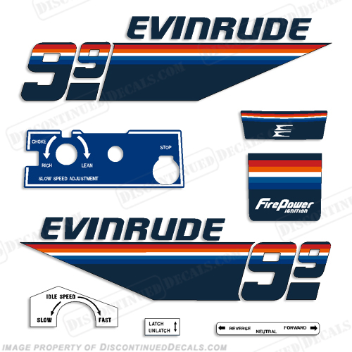 Evinrude 1978 9.9hp Decal Kit 9.9, 78